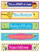 Bee Bumblebees Bookmarks, Shelf Markers or Desk Name Plates - EDITABLE