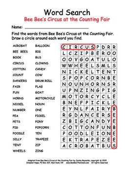 Bee Bee's Circus Word Search