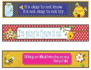 Bee Bumblebees Growth Mindset Bookmarks, Shelf Markers Name Plates - EDITABLE