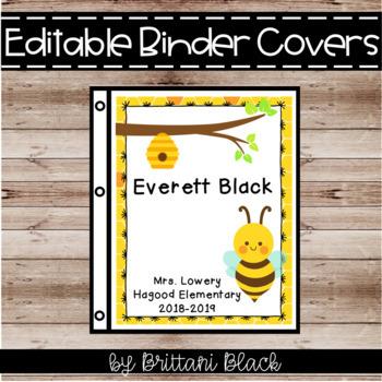 Editable Bee Binder Covers