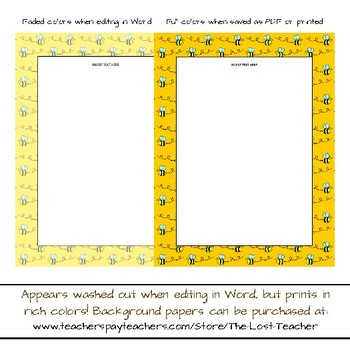 Bee Binder Paper Covers - Bees Theme Frames, Papers, Backgrounds