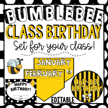 Bee Birthday  ~ Editable