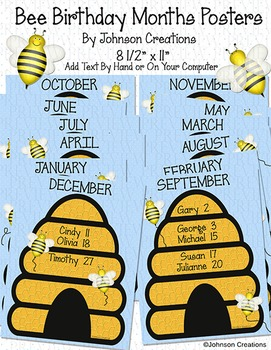 Bee Birthday Months Posters