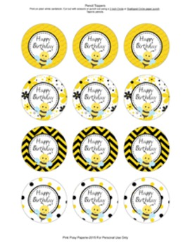 Bee Birthday Pencil Toppers