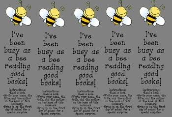 Bee Bookmark Reading Activity