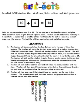 Bee-Bot: Numbers 1-30: Add, Subtract, and Multiply