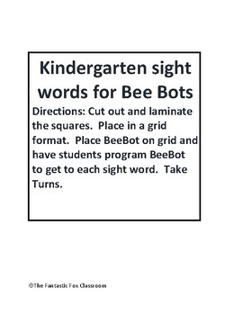Bee Bot Sight Word Mat