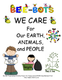 Bee-Bot squares WE CARE about Our EARTH, PEOPLE, & ANIMALS