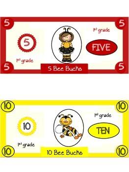 Bee Bucks Incentive Dollars First Grade