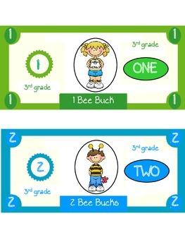 Bee Bucks Incentive Dollars Third Grade