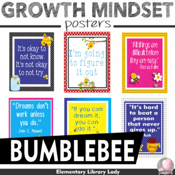 "Bee Bumblebees Growth Mindset Posters - 8.5""x11"", 18""x24"" - Ready for Printing"