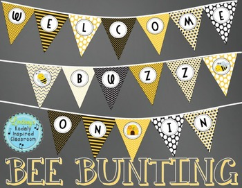 Bee Bunting Banner FREEBIE {Welcome Buzz On In}