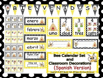 Bee Calendar Set and Classroom Decorations {Spanish Version}