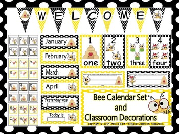 Bee Calendar set and Classroom Decorations