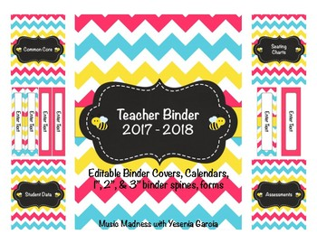 Bee Teacher Binder 2017 - 2018 (Covers, Spines, Forms & Calendars) Editable