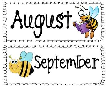 Bee Classroom Calendar
