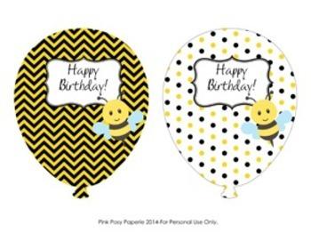Bee Classroom Decor Birthday Balloons - 4 Different Designs