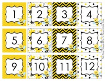 Bee Classroom Decor Calendar Numbers