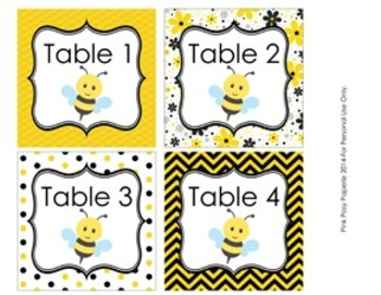 Bee Classroom Decor Table Numbers