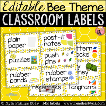 Bee Classroom Supply Labels with Pictures - Editable