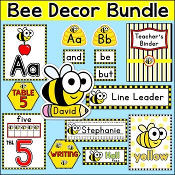 Bee Theme Classroom Decor Bundle Name Tags Word Wall Teachers Binder Etc