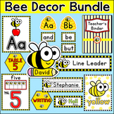 Bee Theme Classroom Decor Bundle: Name Tags, Word Wall, Te
