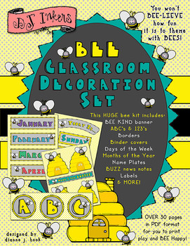 Bee Classroom and Printable Decoration Set Download