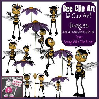 Bee Clip Art - 12 Commercial Use OK Clipart for Teachers