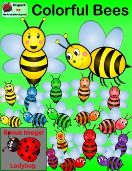 Bee Clip Art - Colorful Bumble Bees Clipart