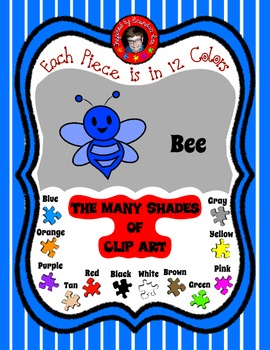 Bee Clip Art in 12 Colors ~ make fun matching games ~ Free