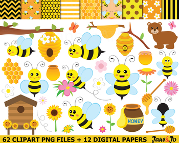 Bee Clipart Bees clip art Honey honeycomb Image Bee cliparts bee hive Picture