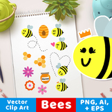 Bee Clipart, Bug Graphics, Insect Clipart, Summer Clipart,