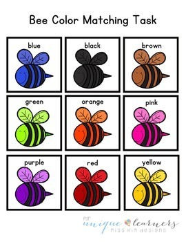 Folder Game: Bee Color Matching for Students with Autism & Special Needs
