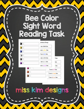 Bee Color Sight Word File Folder Game for Early Childhood