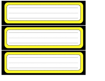 Yellow and Black Bee Themed Nametags