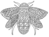 Free Bee Zentangle Coloring Page