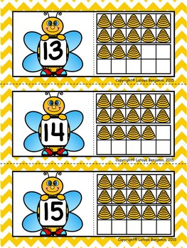 Bee- Count and Match Number Puzzles (1-20) FREEBIE