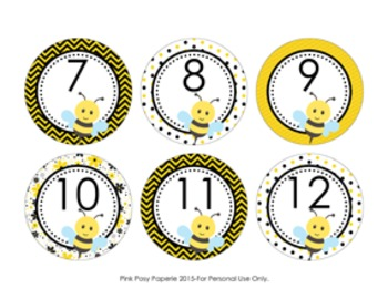 Bee Cubby Number Labels 1-30