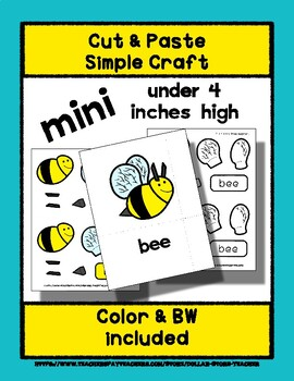 Bee - Cut & Paste Craft - Mini Craftivity for Pre-K & Kindergarten