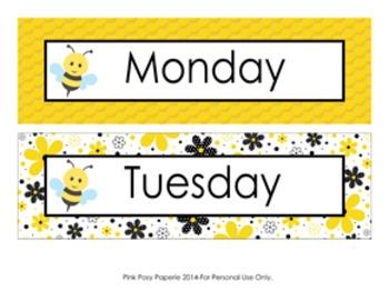 Bee Days of the Week Calendar Headers