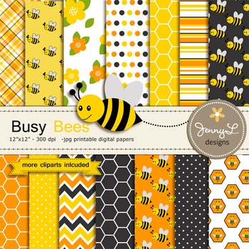 Bee Digital Paper and clipart
