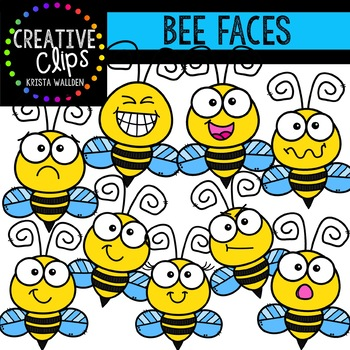 Bee Faces: Insect Clipart {Creative Clips Clipart}