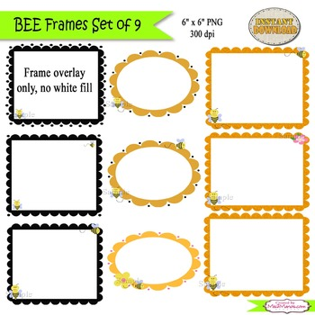 Bee Frames ClipArt SET of 9