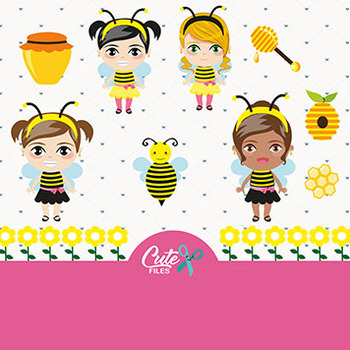 Bee Girls Clipart, Sweet Honey Bee  with Girls for a Honey Party Digital Cl