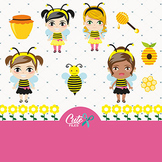 Bee Girls Clipart, Sweet Honey Bee  with Girls for a Honey