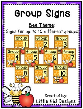 Bee Group Signs - Table Group Signs