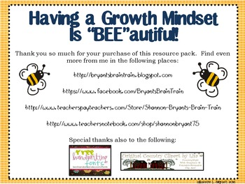 """Bee Growth Mindset Posters (A Growth Mindset Is """"BEE""""autiful!)"""