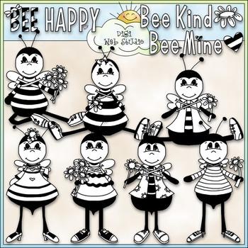 Bee Happy Clip Art - Bee Clip Art - Bumblebee - Honeybee - CU Clip Art & B&W