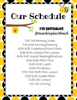 Bee Happy: Editable Black and Yellow Schedule and Class List