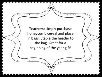 Bee Headers for beginning of the year gift